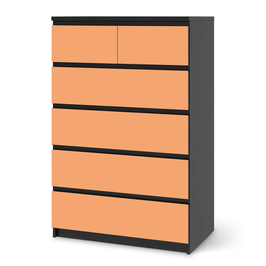 Möbel Klebefolie Orange Light - IKEA Malm Kommode 6 Schubladen (hoch) - schwarz