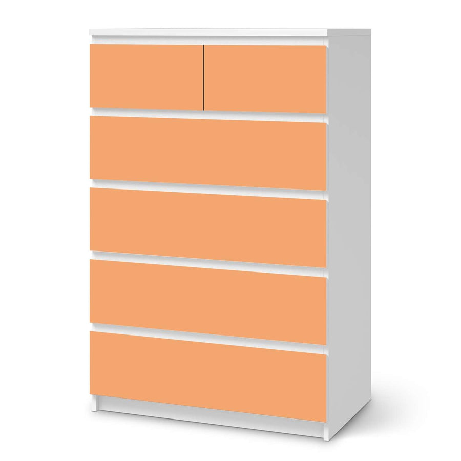 Möbel Klebefolie Orange Light - IKEA Malm Kommode 6 Schubladen (hoch)  - weiss