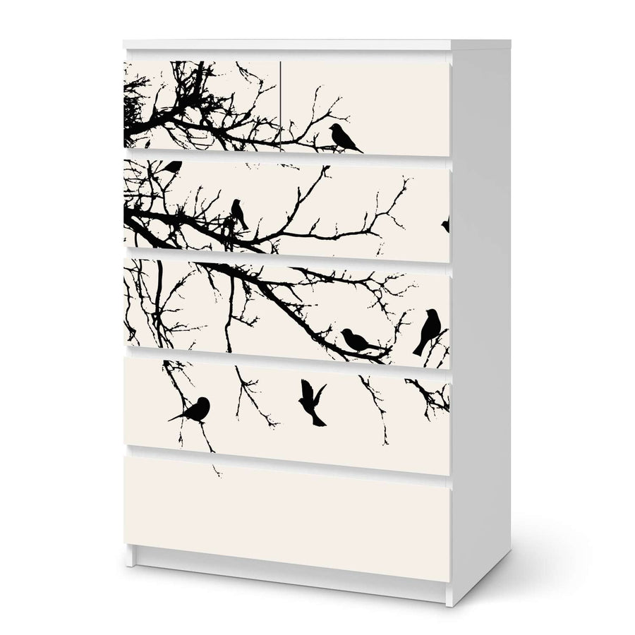 Möbel Klebefolie Tree and Birds 1 - IKEA Malm Kommode 6 Schubladen (hoch)  - weiss