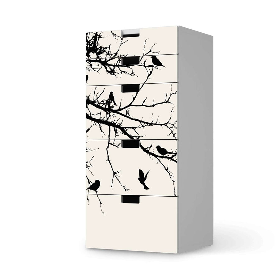 Möbel Klebefolie Tree and Birds 1 - IKEA Stuva Kommode - 5 Schubladen  - weiss