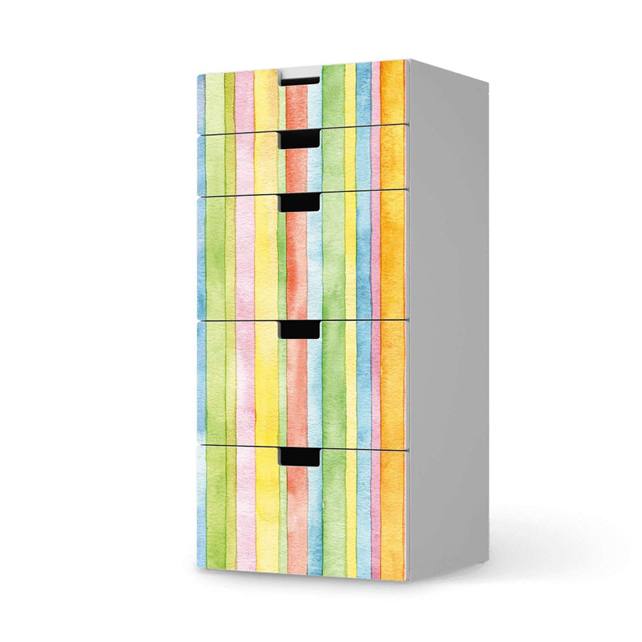 Möbel Klebefolie Watercolor Stripes - IKEA Stuva Kommode - 5 Schubladen  - weiss