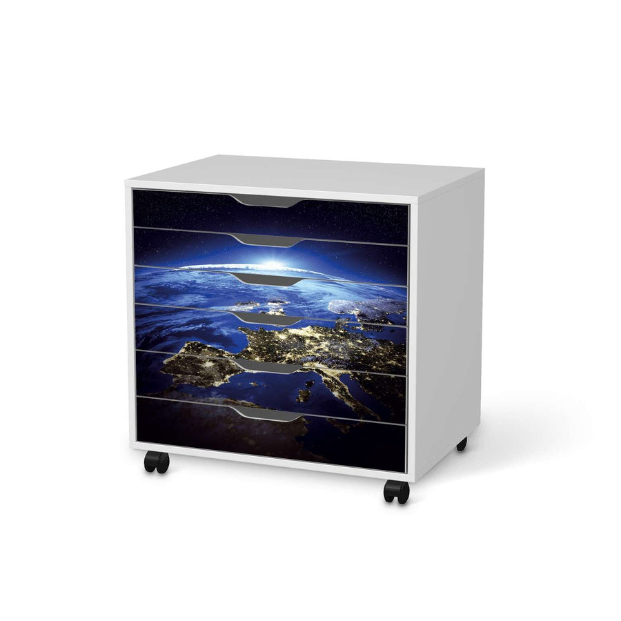 Möbelfolie Earth View - IKEA Alex Rollcontainer 6 Schubladen - weiss