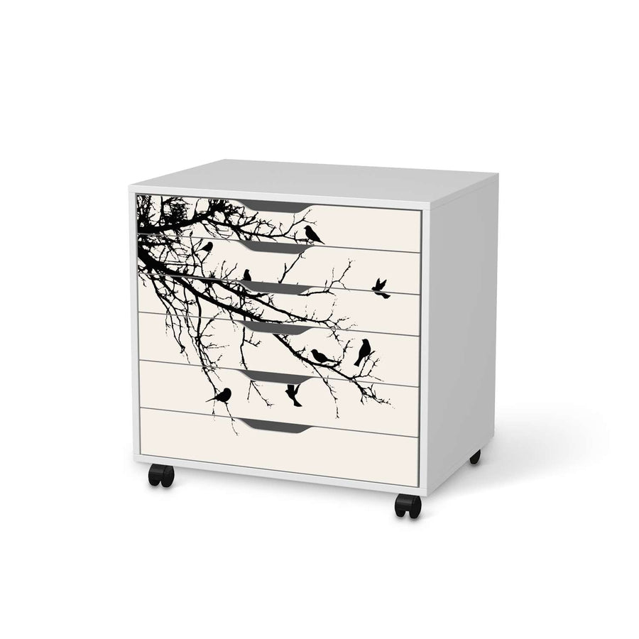 Möbelfolie Tree and Birds 1 - IKEA Alex Rollcontainer 6 Schubladen - weiss