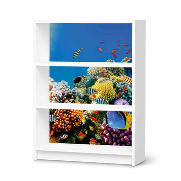 Möbelfolie Coral Reef - IKEA Billy Regal 3 Fächer - weiss