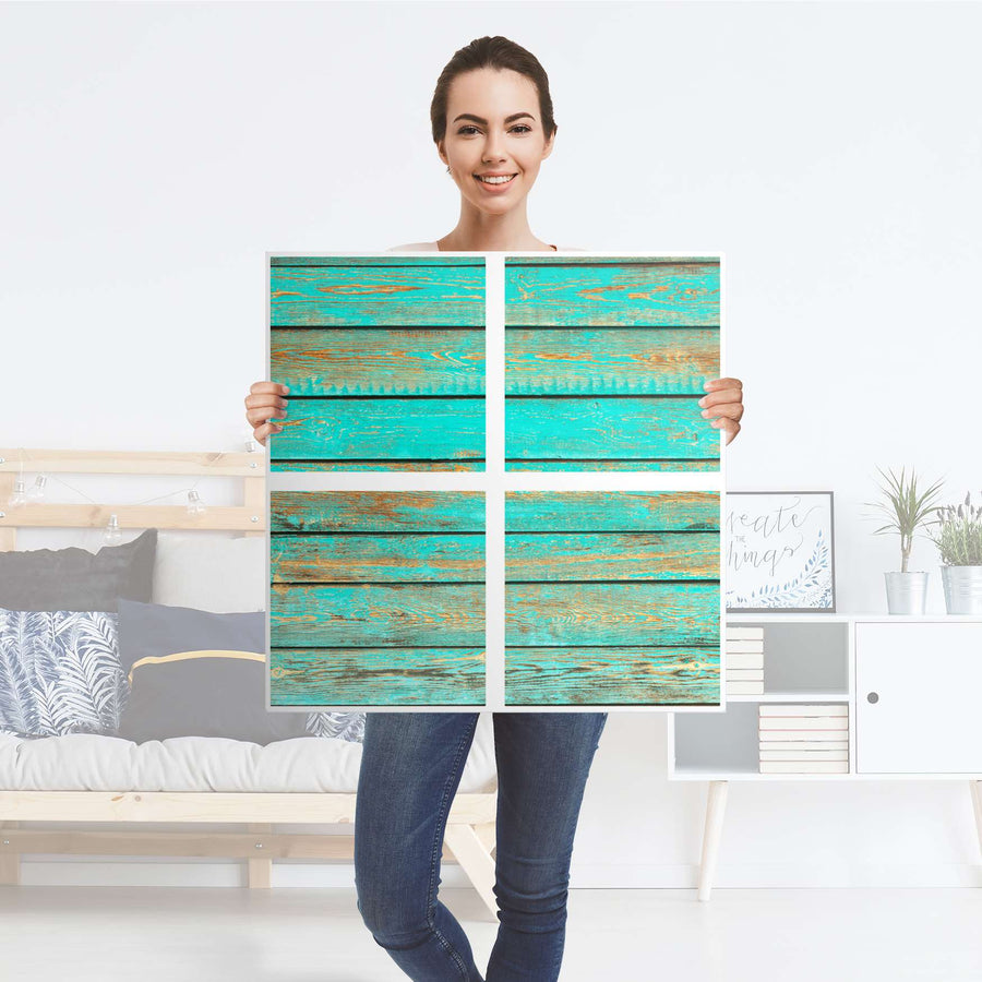 Möbelfolie Wooden Aqua - IKEA Expedit Regal 4 Türen - Folie