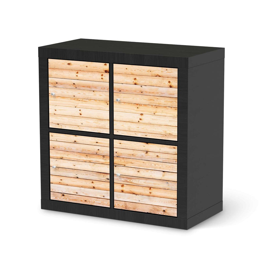 Möbelfolie Bright Planks - IKEA Expedit Regal 4 Türen - schwarz