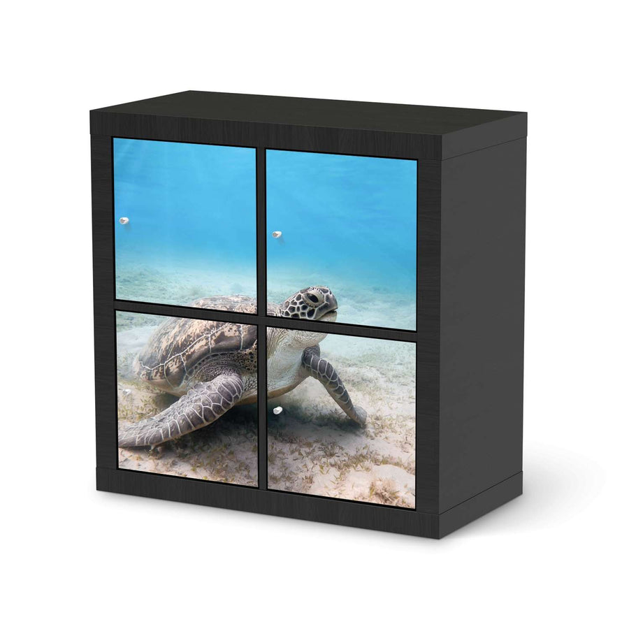Möbelfolie Green Sea Turtle - IKEA Expedit Regal 4 Türen - schwarz