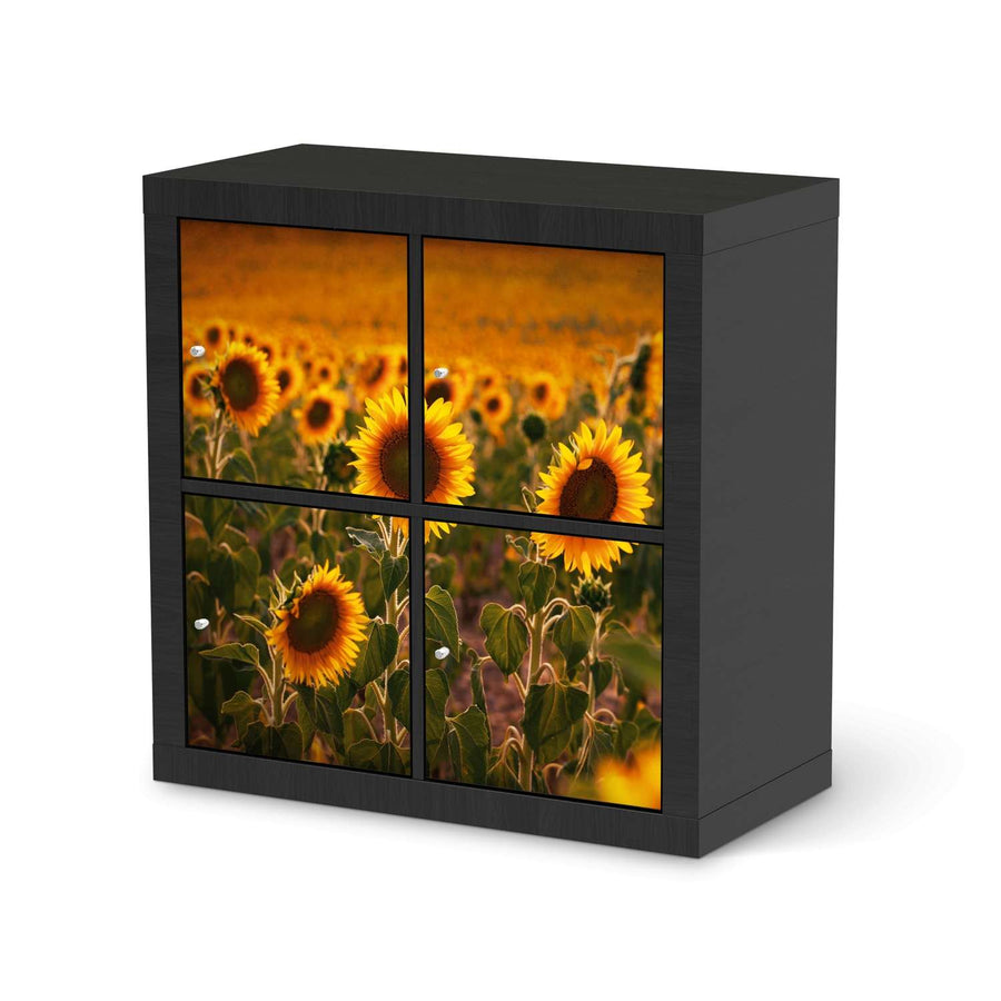 Möbelfolie Sunflowers - IKEA Expedit Regal 4 Türen - schwarz