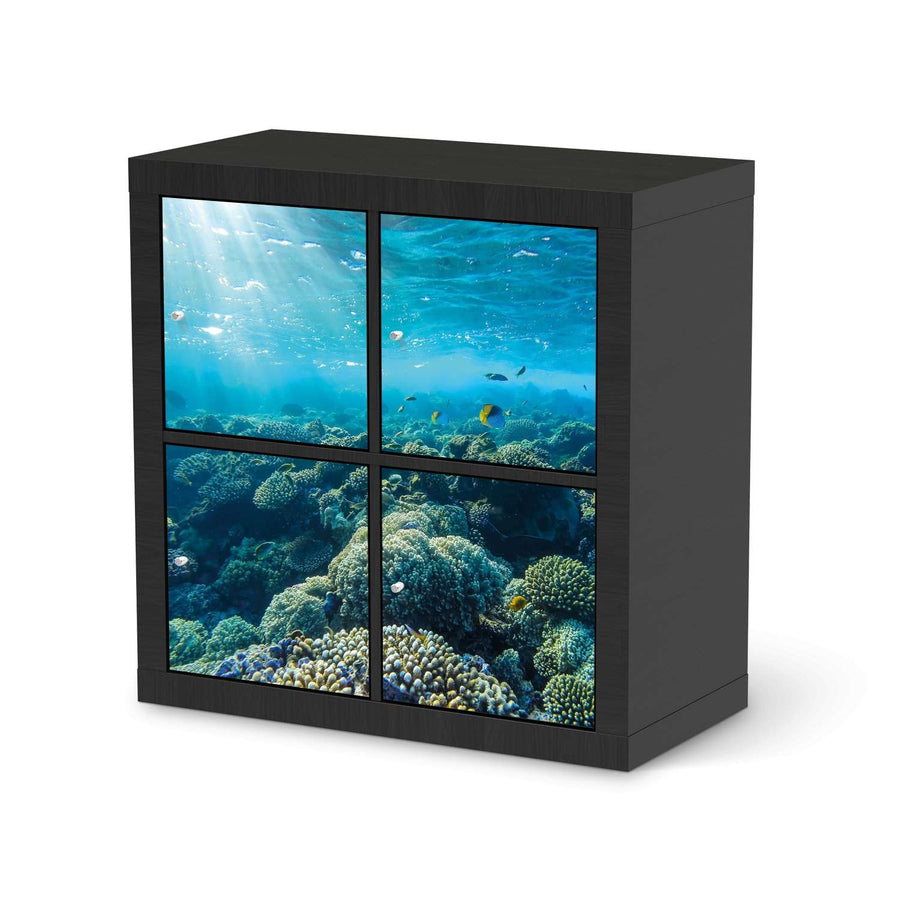 Möbelfolie Underwater World - IKEA Expedit Regal 4 Türen - schwarz