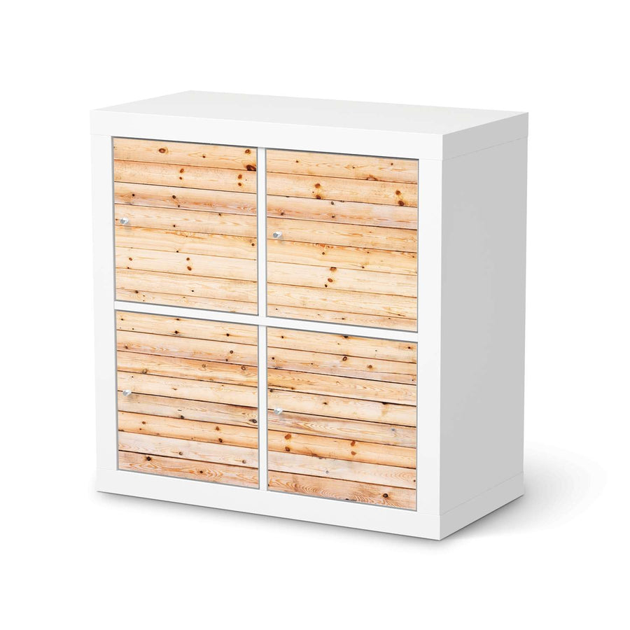 Möbelfolie Bright Planks - IKEA Expedit Regal 4 Türen  - weiss