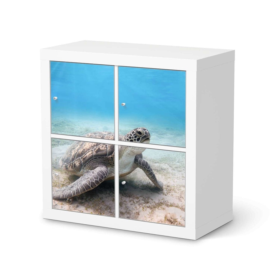 Möbelfolie Green Sea Turtle - IKEA Expedit Regal 4 Türen  - weiss
