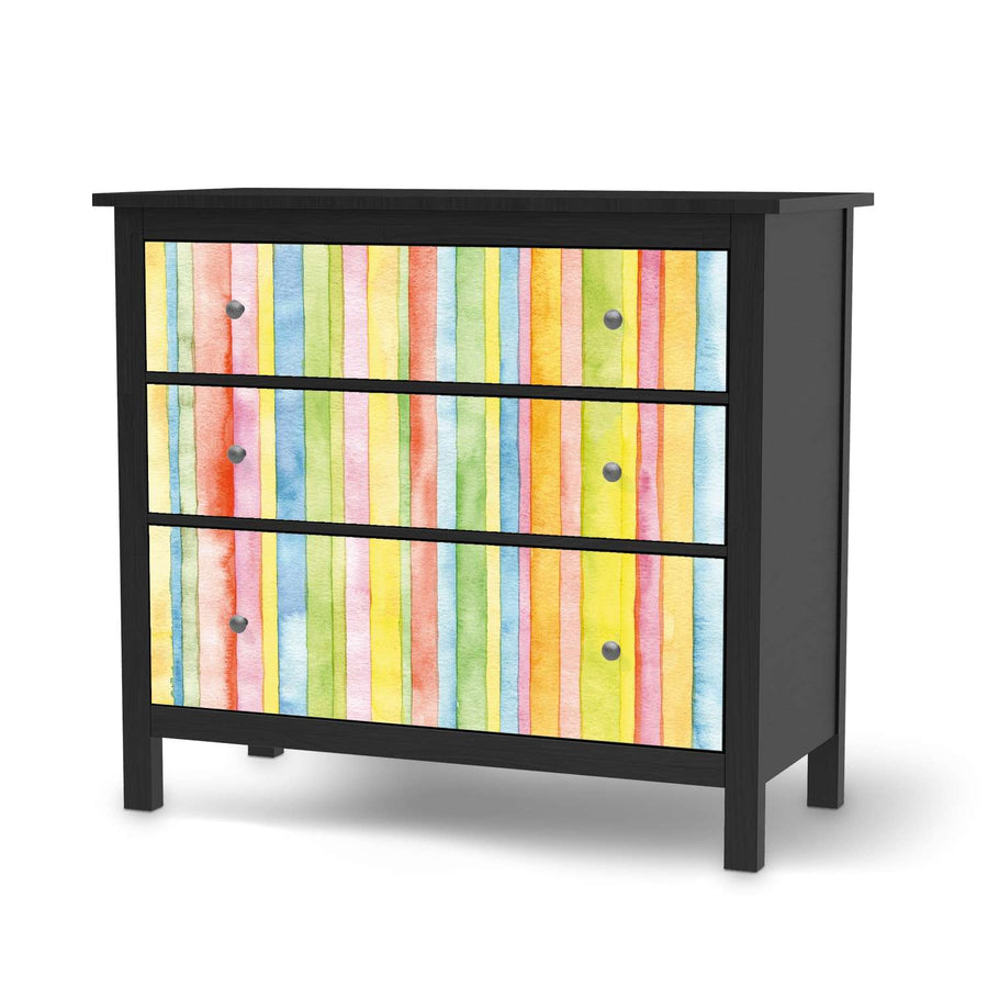 Möbelfolie Watercolor Stripes - IKEA Hemnes Kommode 3 Schubladen - schwarz