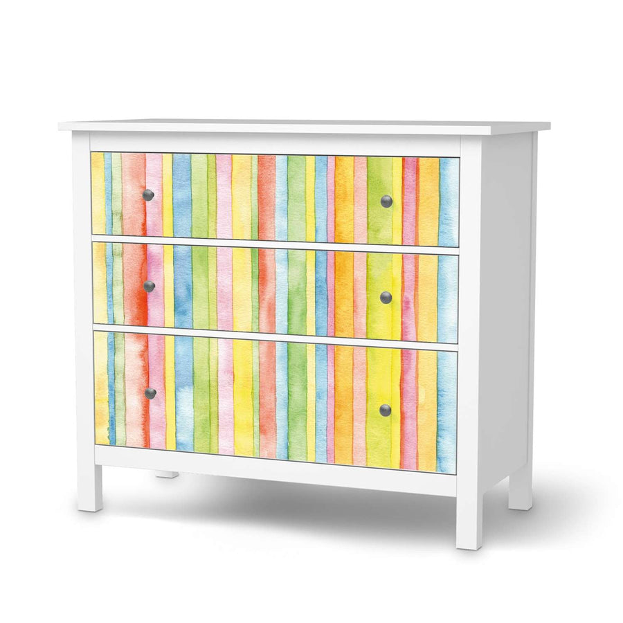 Möbelfolie Watercolor Stripes - IKEA Hemnes Kommode 3 Schubladen  - weiss