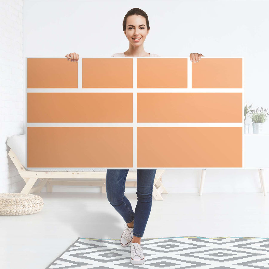 Möbelfolie Orange Light - IKEA Hemnes Kommode 8 Schubladen - Folie