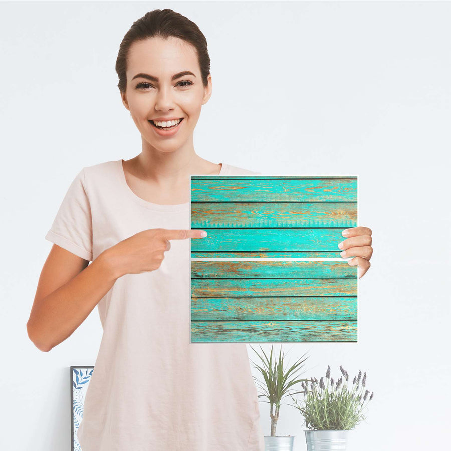 Möbelfolie IKEA Wooden Aqua - IKEA Expedit Regal Schubladen - Folie