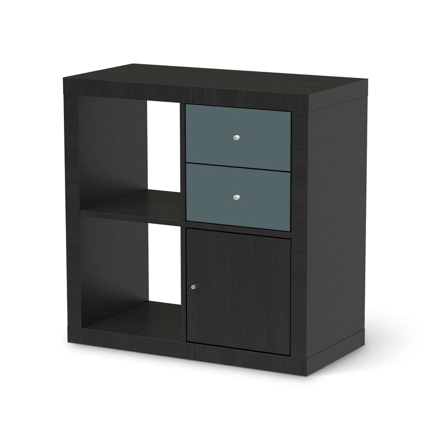 Möbelfolie IKEA Blaugrau Light - IKEA Expedit Regal Schubladen - schwarz