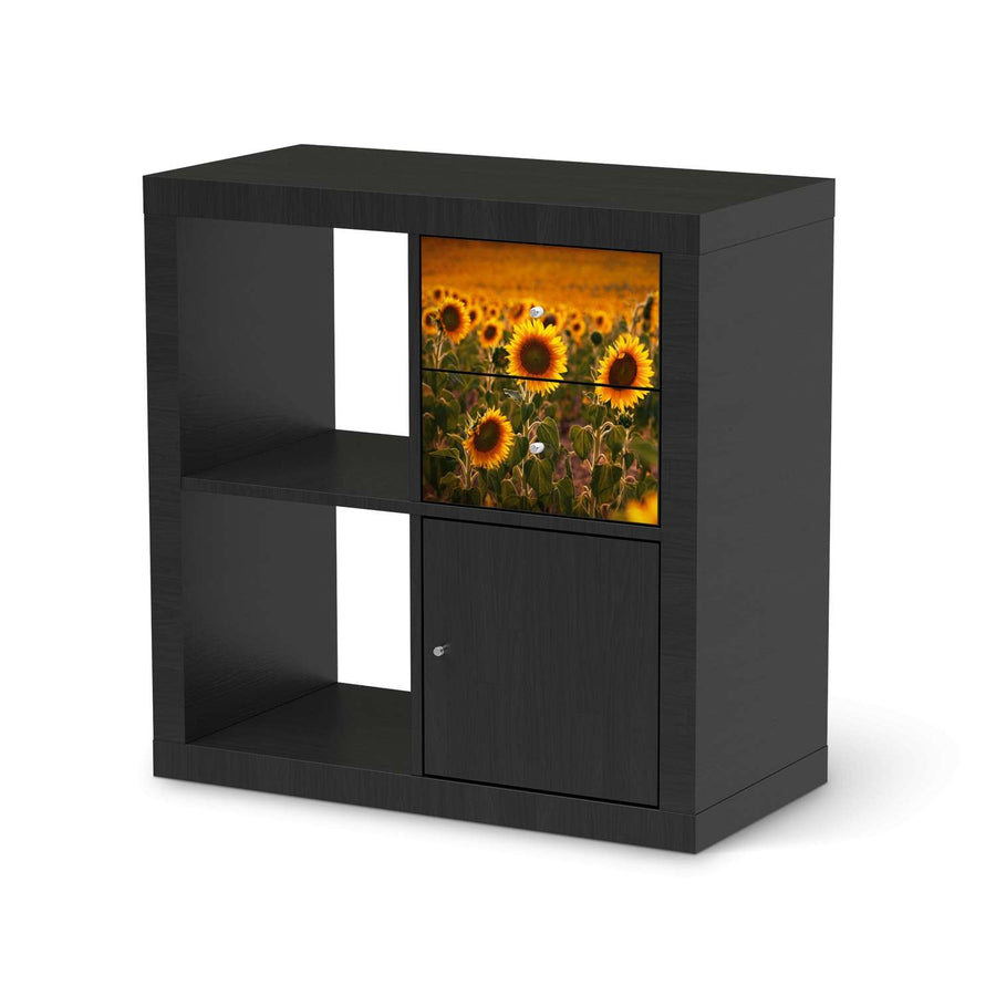 Möbelfolie IKEA Sunflowers - IKEA Expedit Regal Schubladen - schwarz