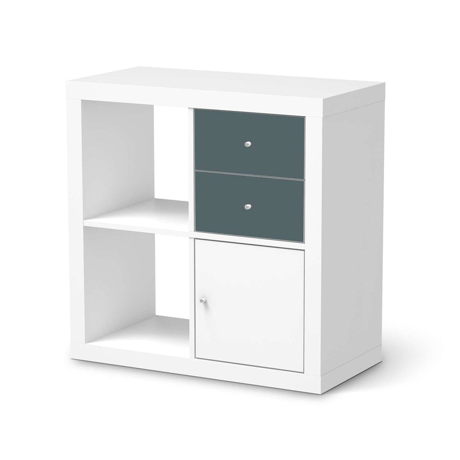 Möbelfolie IKEA Blaugrau Light - IKEA Expedit Regal Schubladen  - weiss