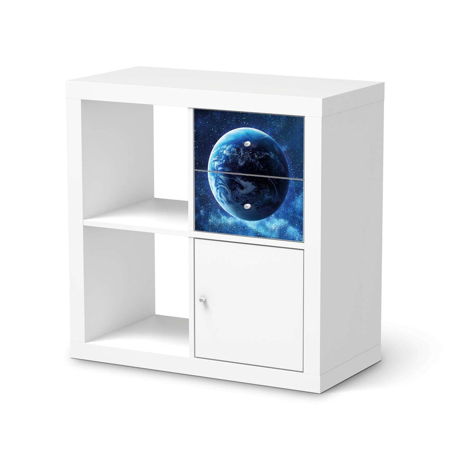 Möbelfolie IKEA Planet Blue - IKEA Expedit Regal Schubladen  - weiss