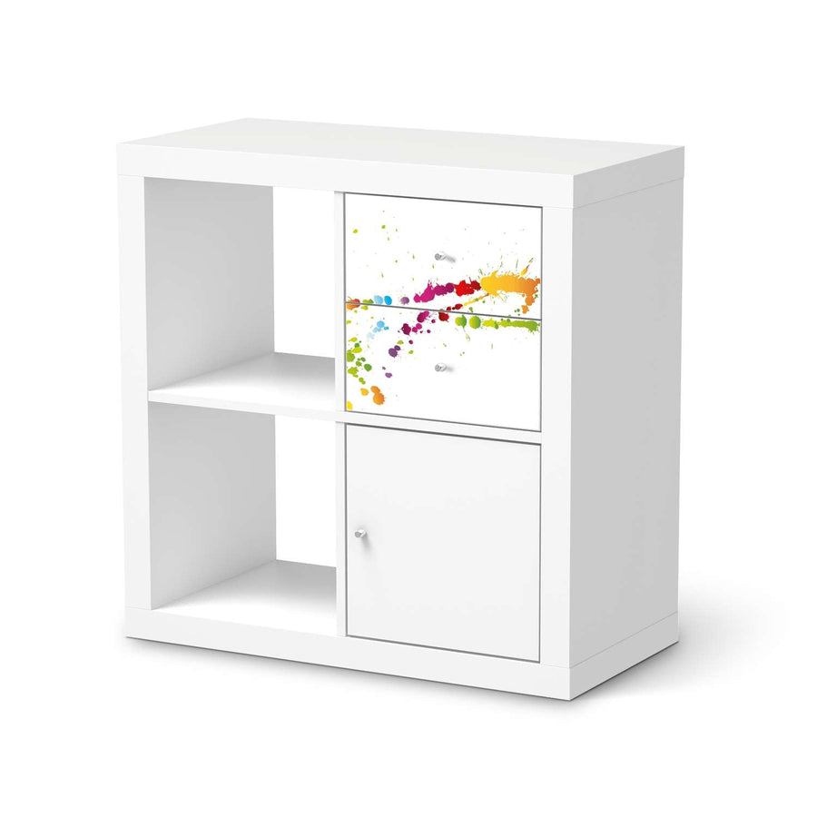 Möbelfolie IKEA Splash 2 - IKEA Expedit Regal Schubladen  - weiss
