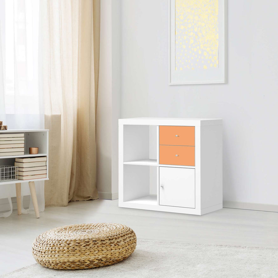 Möbelfolie IKEA Orange Light - IKEA Expedit Regal Schubladen - Wohnzimmer