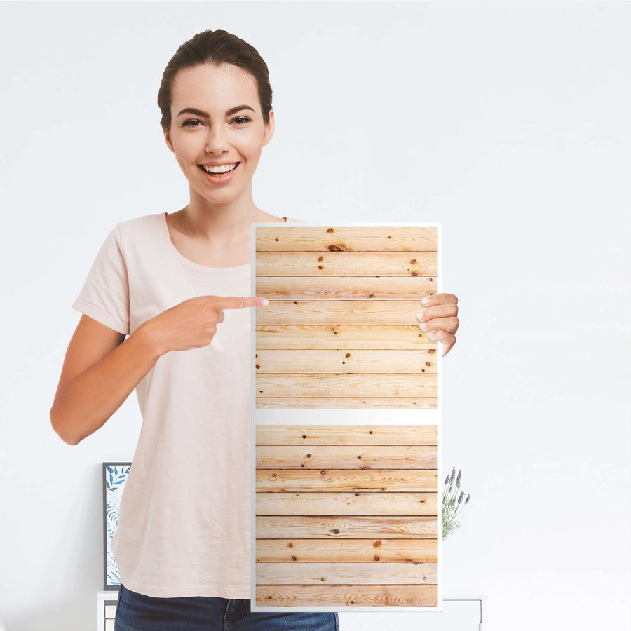 Möbelfolie Bright Planks - IKEA Kallax Regal 2 Türen Hoch - Folie