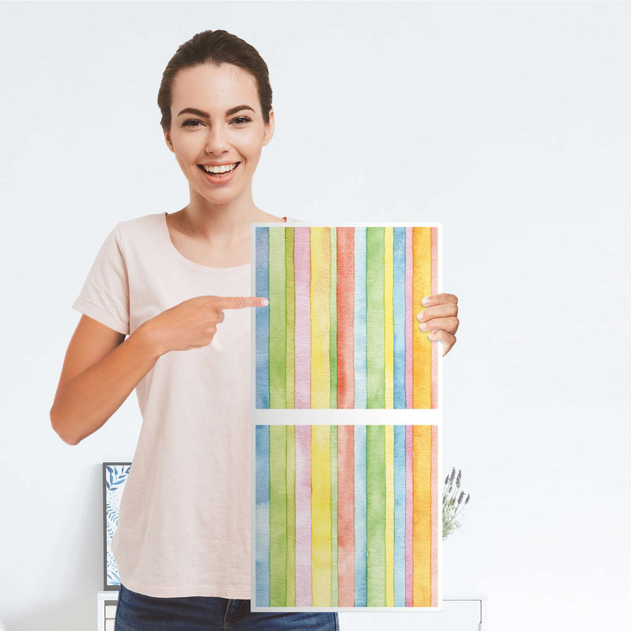 Möbelfolie Watercolor Stripes - IKEA Kallax Regal 2 Türen Hoch - Folie