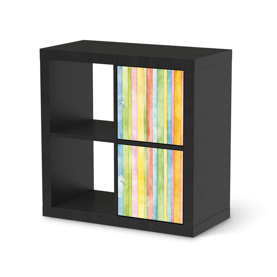 Möbelfolie Watercolor Stripes - IKEA Kallax Regal 2 Türen Hoch - schwarz