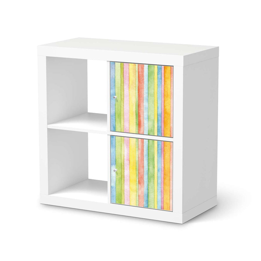 Möbelfolie Watercolor Stripes - IKEA Kallax Regal 2 Türen Hoch  - weiss