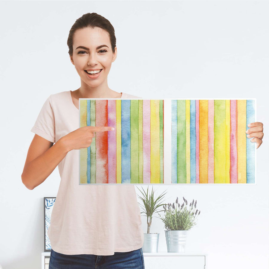 Möbelfolie Watercolor Stripes - IKEA Kallax Regal 2 Türen Quer - Folie