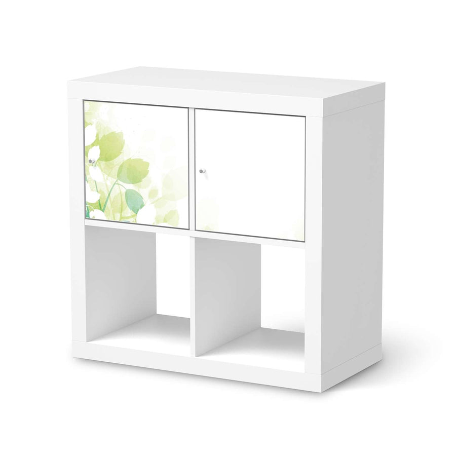 Möbelfolie Flower Light - IKEA Kallax Regal 2 Türen Quer  - weiss