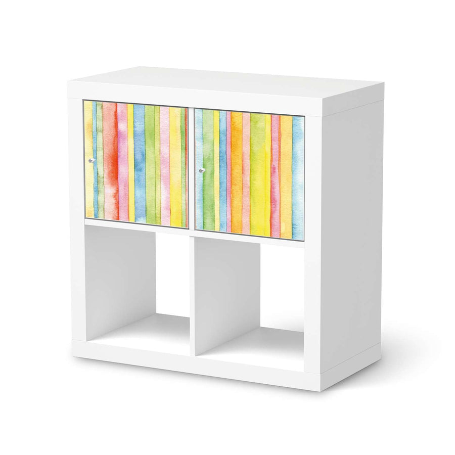 Möbelfolie Watercolor Stripes - IKEA Kallax Regal 2 Türen Quer  - weiss