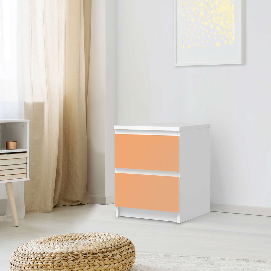 Möbelfolie Orange Light - IKEA Malm Kommode 2 Schubladen - Schlafzimmer