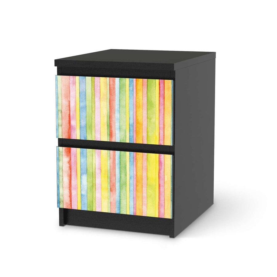 Möbelfolie Watercolor Stripes - IKEA Malm Kommode 2 Schubladen - schwarz