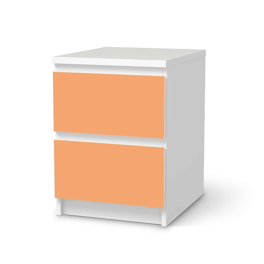 Möbelfolie Orange Light - IKEA Malm Kommode 2 Schubladen  - weiss