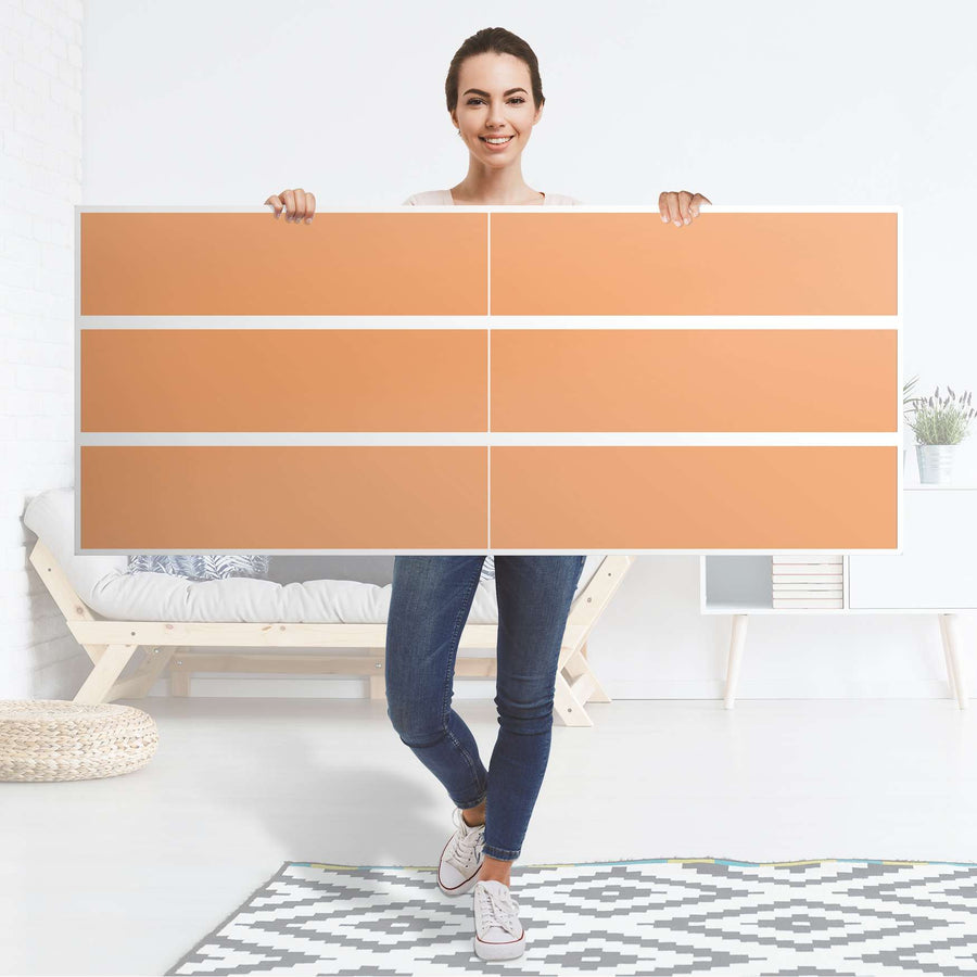Möbelfolie Orange Light - IKEA Malm Kommode 6 Schubladen (breit) - Folie