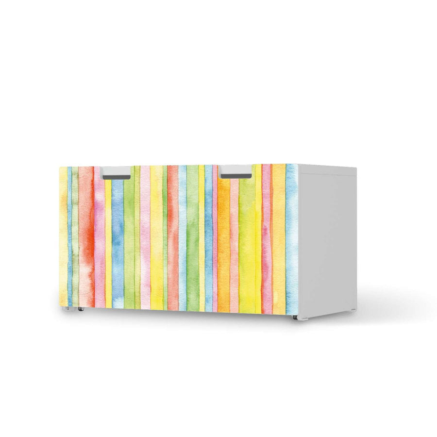 Möbelfolie Watercolor Stripes - IKEA Stuva Banktruhe  - weiss