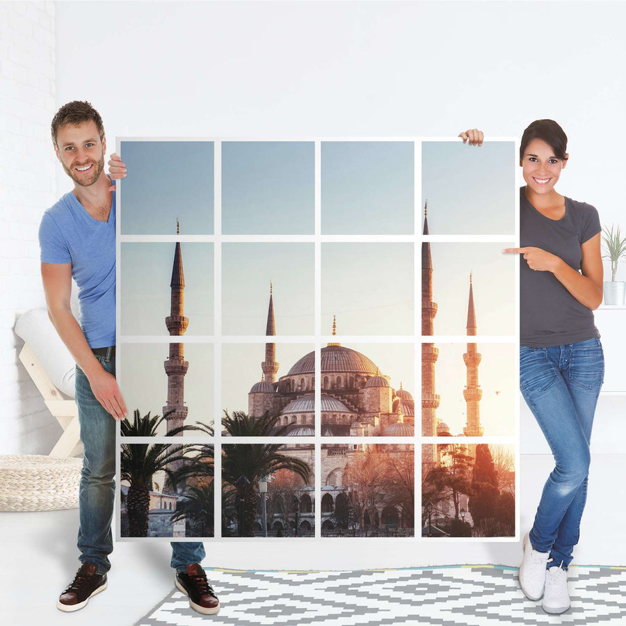 Selbstklebende Folie Blue Mosque - IKEA Expedit Regal 16 Türen - Folie