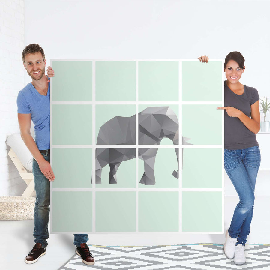 Selbstklebende Folie Origami Elephant - IKEA Expedit Regal 16 Türen - Folie