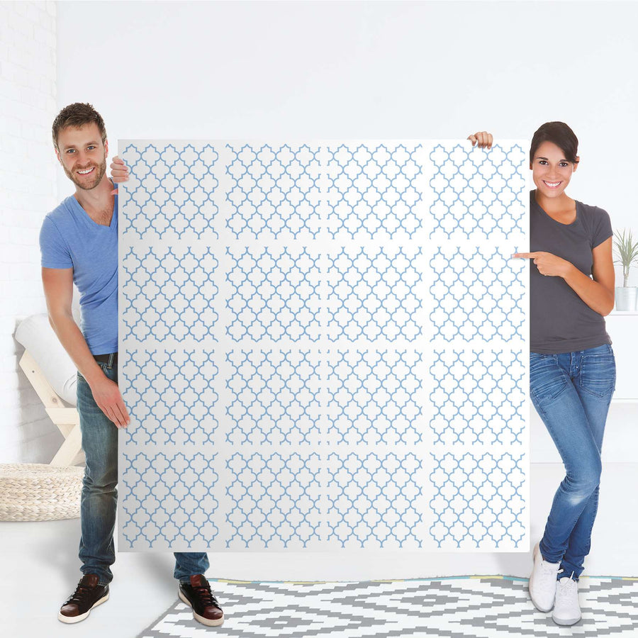 Selbstklebende Folie Retro Pattern - Blau - IKEA Expedit Regal 16 Türen - Folie