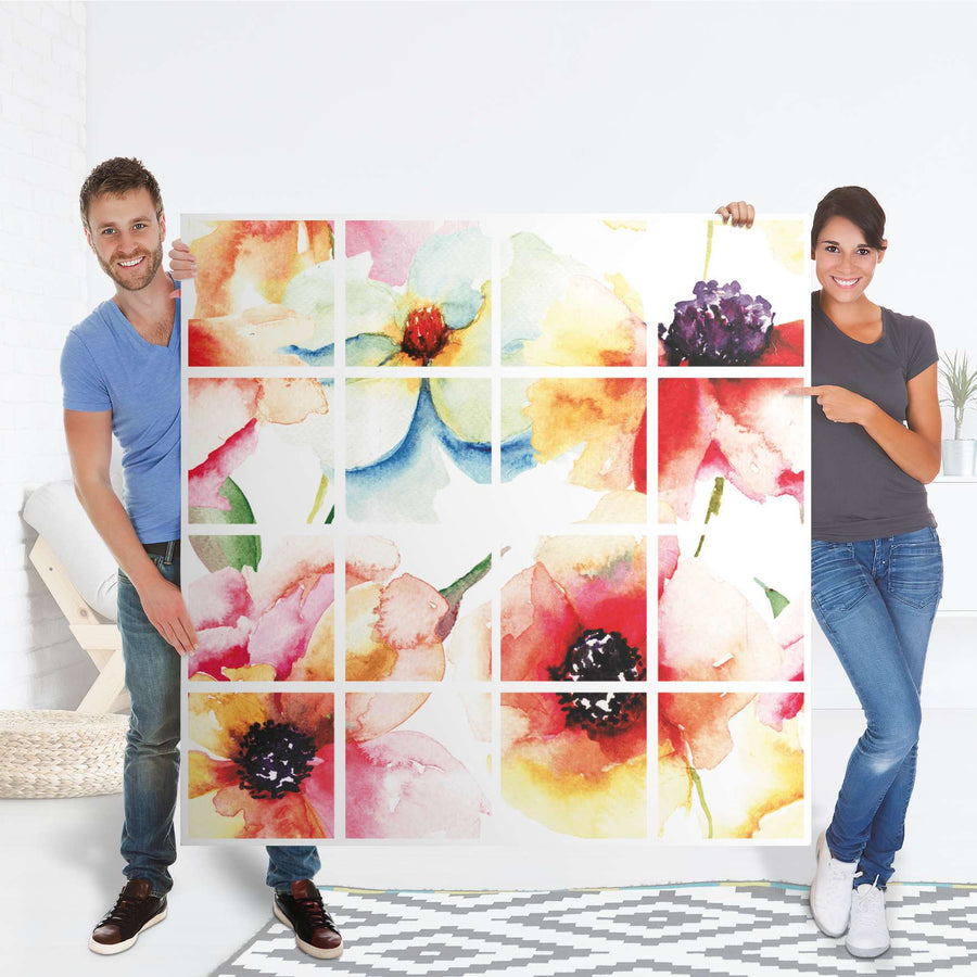 Selbstklebende Folie Water Color Flowers - IKEA Expedit Regal 16 Türen - Folie