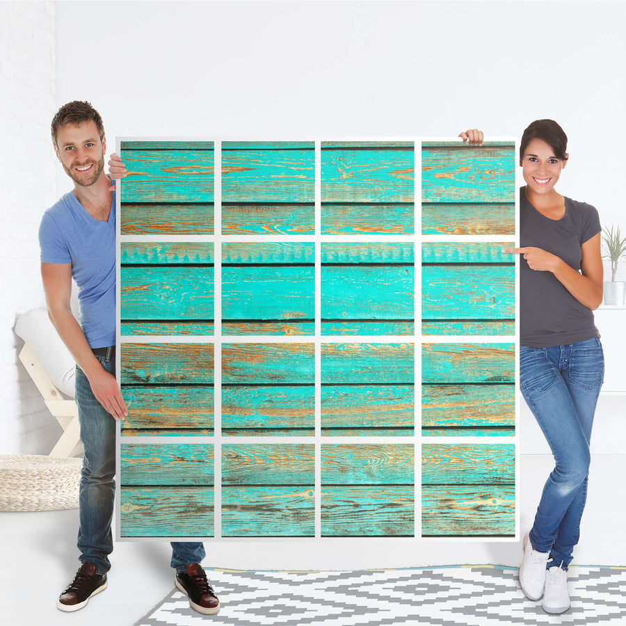 Selbstklebende Folie Wooden Aqua - IKEA Expedit Regal 16 Türen - Folie