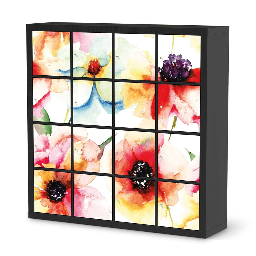 Selbstklebende Folie Water Color Flowers - IKEA Expedit Regal 16 Türen - schwarz