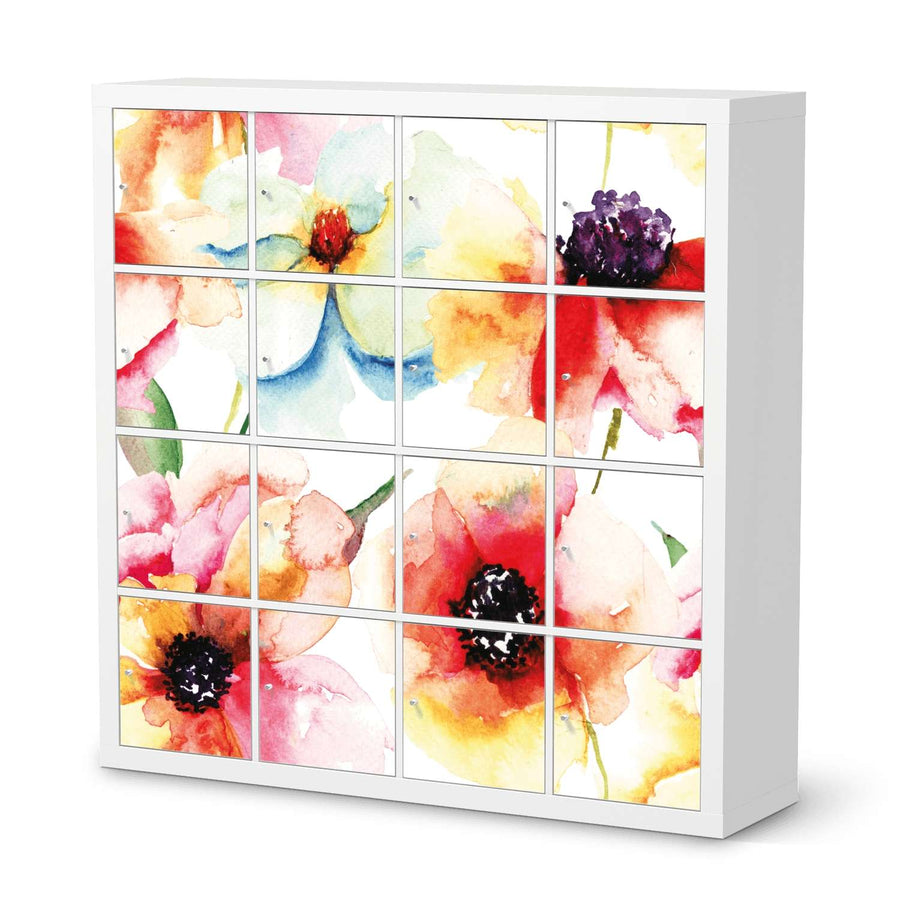 Selbstklebende Folie Water Color Flowers - IKEA Expedit Regal 16 Türen  - weiss
