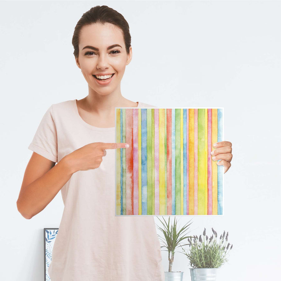 Selbstklebende Folie Watercolor Stripes - IKEA Kallax Regal 1 Türe - Folie