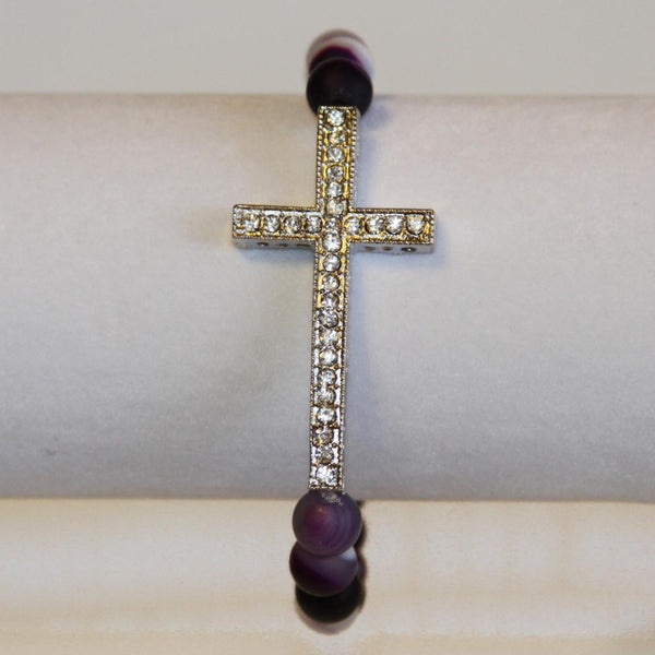 Purple Pave Cross Bracelet