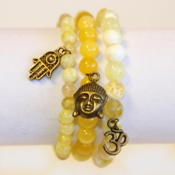Yellow Buddha Bracelet Set