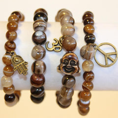 Brown Swirl Buddha Bracelet Set