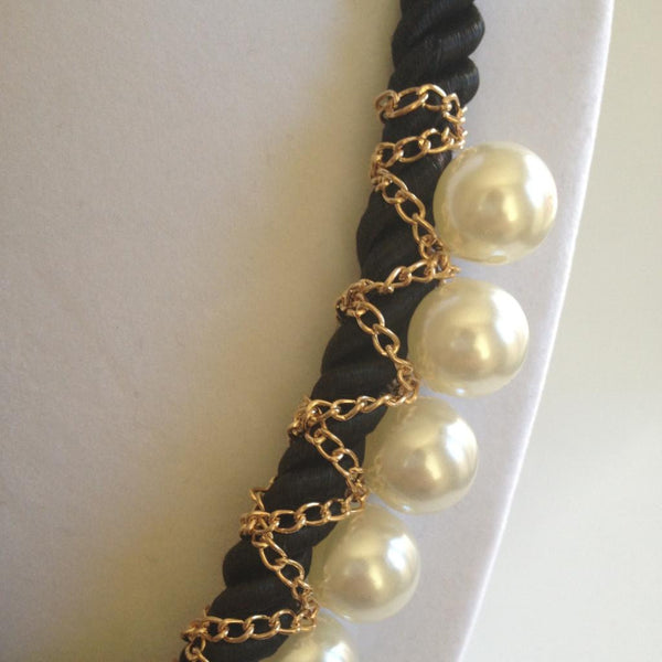 Chain Wrapped Pearl Necklace