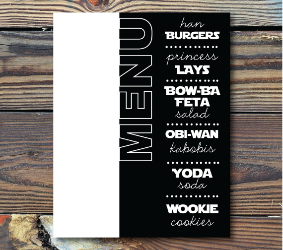 Table Menu-Together We Can Rule the Galaxy(Star Wars)